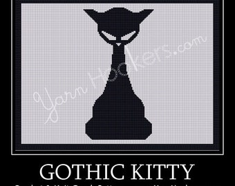 Gothic Kitty - Afghan Crochet Graph Pattern Chart - Instant Download