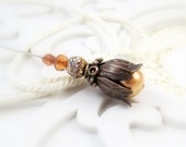Amber Autumn fall womens jewelry beaded bronze vintage style Victorian copper amber pearl beaded Victorian hat pin scarf  lapel pin TAGT