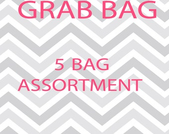 Chevron Grab Bag - Assortment of 5 or 10  Reusable Snack and Sandwich Bags with Zipper