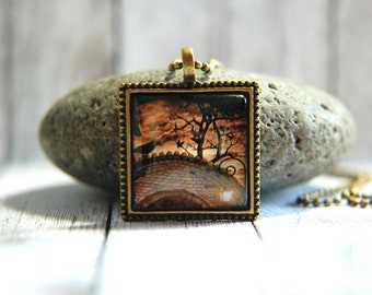"""1"""" Square  Glass Pendant Necklace or Key Chain - Raven on Old Bridge - Fall or Halloween Necklace or Key Chain"""