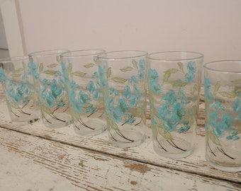 Mid Century Juice Glasses Turquoise Flowers