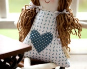 Handmade Rag Doll Personalized, Child Friendly Doll with Yarn Hair, Hannah