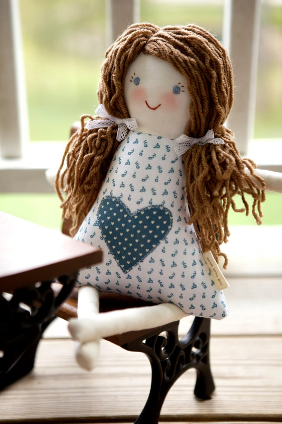 Handmade Personalized Doll, Child Friendly Doll with Yarn Hair, Hannah