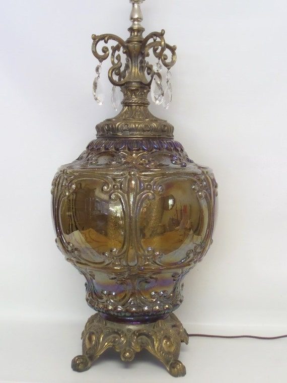 Hollywood Regency Over Sized French Style, Crystal, Dual Light Table Lamp