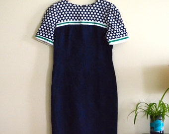 Vintage Navy Blue, Green, and White Wiggle Dress / Mod Dress / Color block Dress / Polka Dot / Short Sleeve Shift - 1960s