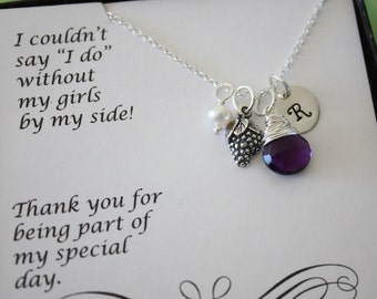 9 Bridesmaid Initial Grape Charm Necklaces, Bridesmaid Gifts, Sterling Silver, Vineyard Gift, Initial jewelry, Purple Stone, Thank you Card