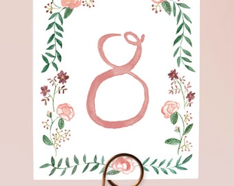 Printable Table Numbers - Watercolor Flower Border  - Numbers 1-15 - Watercolor Wreath Table Numbers, Floral Wedding Decor, Watercolor Decor