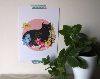 Black Cat with Flowers A5 Print - Black Cat illustration - Cat Print - I like Cats - Black cat - Home decor - Cat art - Wall art - art - Cat