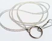 Silver Beaded Lanyard, Silver Beaded ID Badge Holder, Silver Holder for Work Id, Silver Seed Bead Id Holder, Holder For Picture ID, SB 4
