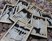 Set of Harry Potter 1-7 Hand Cut Dictionary Page Silhouette Scenes