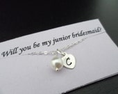 Child Size - SALE - TWO Personalized Initial Charm and Pearl Bracelet - Junior Bridesmaid and Flower Girl Gift, Wedding Jewelry Gift