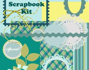 Instant Download Scrapbooking Kit Printable Paper, Borders, Frames
