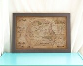 Map of the Shire // Illustrated Map of Middle Earth // Lord of the Rings // Geeky Home Decor // Vintage style Hobbiton Map // Book Art