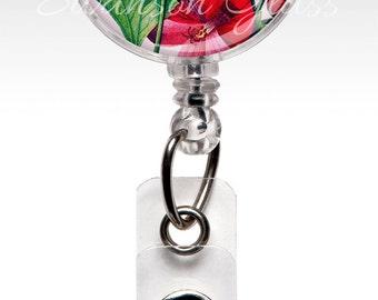 Badge Reel Flower, Retractable Nursing Badge Reels - Spring Fuchsia Pink Flower Name Badge Reel Clips - Nurse Badge - ID Badges 249