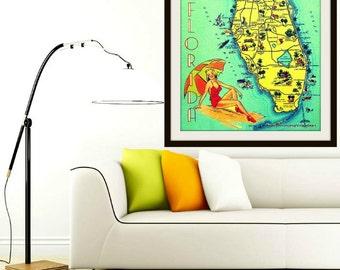 Map Art, Mid Century Modern Map Decor SUNNY FLORIDA Art, Old Florida Art, Florida Print Hostess Gift Beach Decor Beach Art Coastal Decor Art