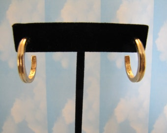 Vintage Artistry 1970s Gold Tone Semi Circle peirced Earrings Jewellery Jewelry Hallmarked