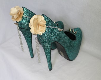Teal Spiked Flower Platform Stiletto