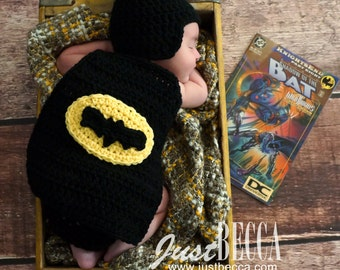 Batman Inspired Hat and Cape set- Made to Order- Any Size