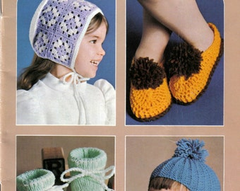 Paton's 402 Accessories for Tots and Toddlers Knitting and Crochet Patterns for Girls and Boys, Hats, Mittens, Slippers, Booties and More!