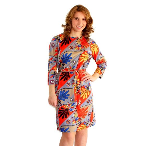 RESERVED for lindamc241. 60s twee dress by Nelly Don.  Vintage shift dress. Art deco print. Orange grey blue. Mad Men. multicolored.