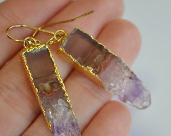 Amethyst Slice Earrings...Tribal...BoHo...