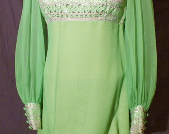 Vtg 60s NEON  Lime Green & GOLD Tinsel Jacquard and Chiffon Mod Mini Dress, Small