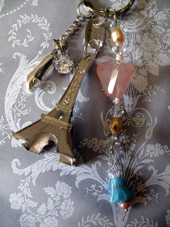 Bridal Tour EIffel Tower Something Blue & Cinderella Shoe Keychain Necklace Long Chic Paris Bling