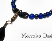 Shades of Midnight. OOAK beaded feather necklace.