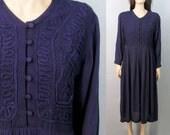 Vintage 90's Dress Boho Dress Purple Dress Minimalist Dress Medium Grunge Dress 80s Dress Rayon Dress Slouchy Dress Hippie Dress Boho Dress