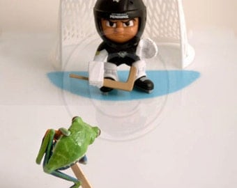 Pittsburgh Penguins, Hockey Goalie and Frog, Ice Hockey Art, Stanley Cup