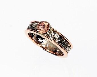 Filigree engagement ring, morganite ring, bezel engagement, morganite wedding, white gold, rose gold, unique engagement, morganite, diamond
