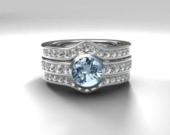 Aquamarine engagement ring set with two diamond bands, bezel ring, light blue, half eternity, diamond engagement, wedding set, solitaire
