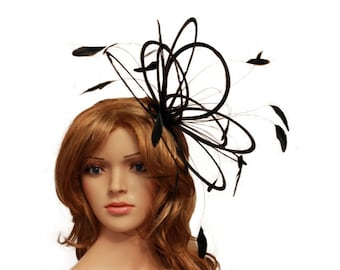 Black  Feather Fascinator Hat - wedding, ladies day - choose any colour feathers & satin