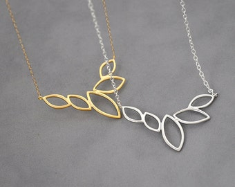 Marquise Leaves silver pendant, gold pendant, simple Necklace, Leaves Charm, Wedding Jewelry, Valentines Gift, leaves necklace,gold necklace