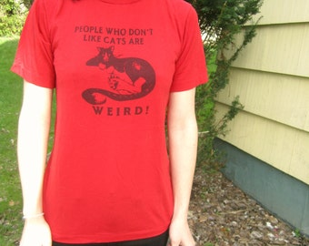 Vintage Red  T-Shirt with Cat Screen Print