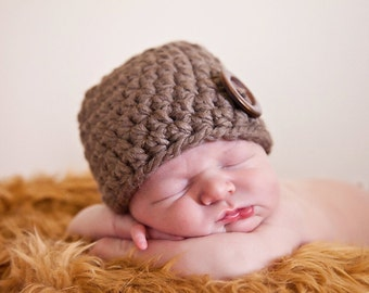 Taupe Baby Hat 0 to 3 Month Baby Boy Hat Baby Girl Hat Baby Boy Cap Baby Girl Cap Photo Prop Photography Prop Wood Button Baby Clothes