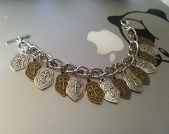 Wizard's Double Color Stylized Shield Bracelet of Protection