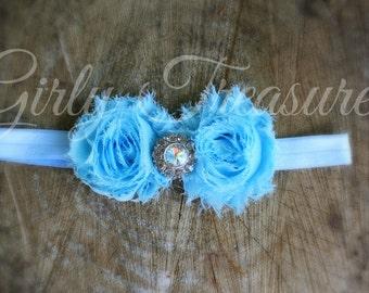 Baby Blue Shabby Flower Headband. Baby Headband. Girl Headband. Newborn Headband. Infant Headband. Women Headband.