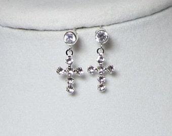 Cross Earrings Genuine Swarovski Crystals on Sterling Silver Cubic Zirconia Ear Studs