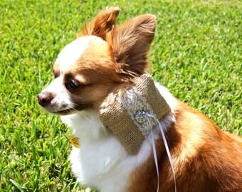 Burlap and Lace Wedding Dog Collar Ring Bearer Pillow