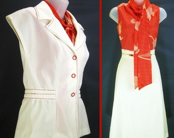 VTG 70's 2 Piece Dress & Jacket with Red polka-dot Tulip design blouse and wide collar ties ~Melissa Lane~