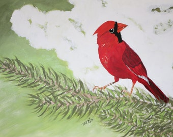 """Cardinal - Art by Ahmad Abumraighi - 11"""" x 15"""""""