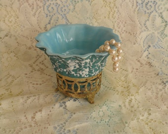 Mid Century Aqua Blue Dish In Pierced Brass Stand Marked PPP