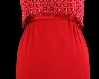 1950s red wiggle dress with beads