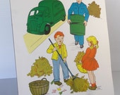 Vintage 1958 Garbageman / Sanitation Worker School Poster - Educational Classroom Community Helpers Series - Hayes School Publishing Co, USA