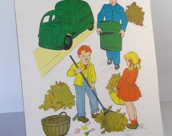 Vintage 1958 Garbageman / Sanitation Worker School Poster - Educational Classroom Community Helpers Series - Hayes School Publishing Co, USA
