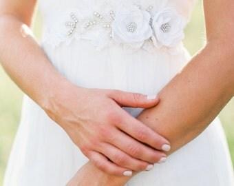 Bridal Gown Sash. Bridal Flower Dress Sash. Bridal Gown Flower Sash.