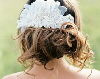 Bridal Crystal and Lace Headpiece. Wedding Lace Beaded Hair Piece in White and Gold.