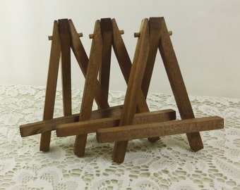 3 Rustic Brown Easels, Small Tabletop Display Hand Stained Wood Easel for Miniature Art, Wedding Display