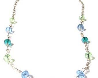 22 inch Silver Chain and Sea Colored Glass Necklace.